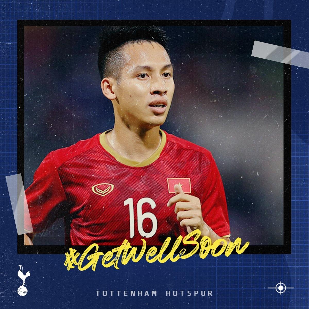 Tottenham gửi lời động viên tới Đỗ Hùng Dũng. (Ảnh: Tottenham)