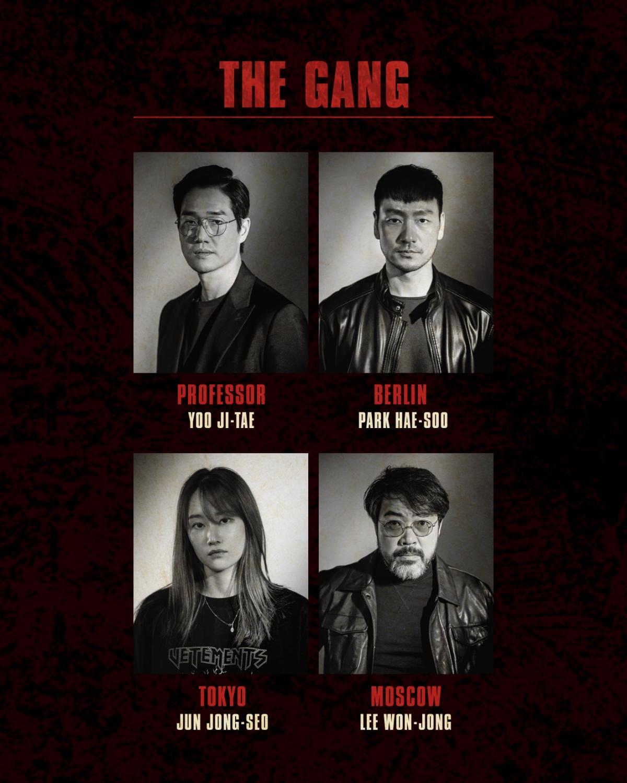 """Đảm nhận vai Giáo sư sẽ là nam diễn viên """"Khu rừng bí mật""""Yoo Ji Tae. Lần lượt vai Berlin, Tokyo, Moscow sẽ do Park Hae Soo, Jun Jong Seo và Lee Won Jong phụ trách."""