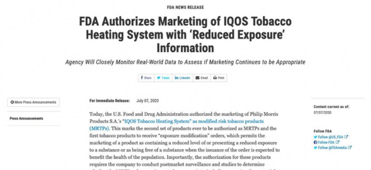 FDA công bố sản phẩm IQOS của công ty Philip Morris International (PMI) được kinh doanh tại Mỹ như là sản phẩm thuốc lá điều chỉnh nguy cơ (Ảnh: Website FDA)
