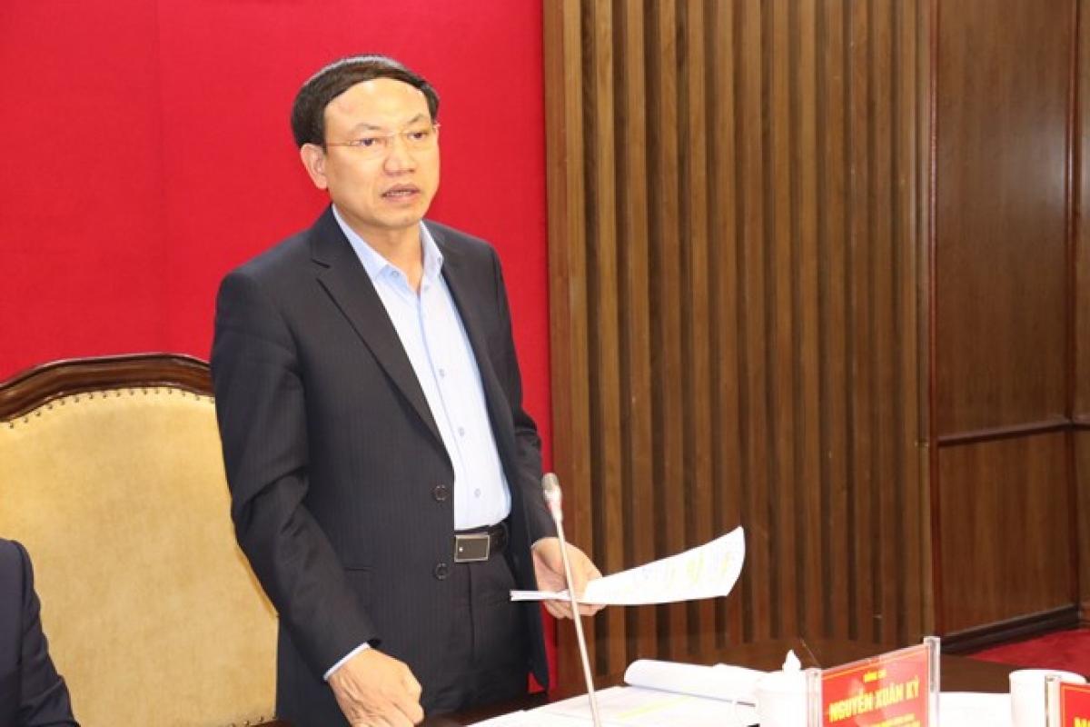 Bí thư tỉnh ủy Quảng Ninh Nguyễn Xuân Ký phát biểu tại cuộc làm việc.