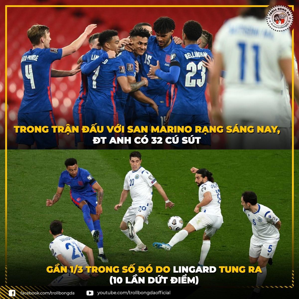 Lingard là đầu tàu của ĐT Anh trong trận đấu với San Marino. (Ảnh: Troll bóng đá).