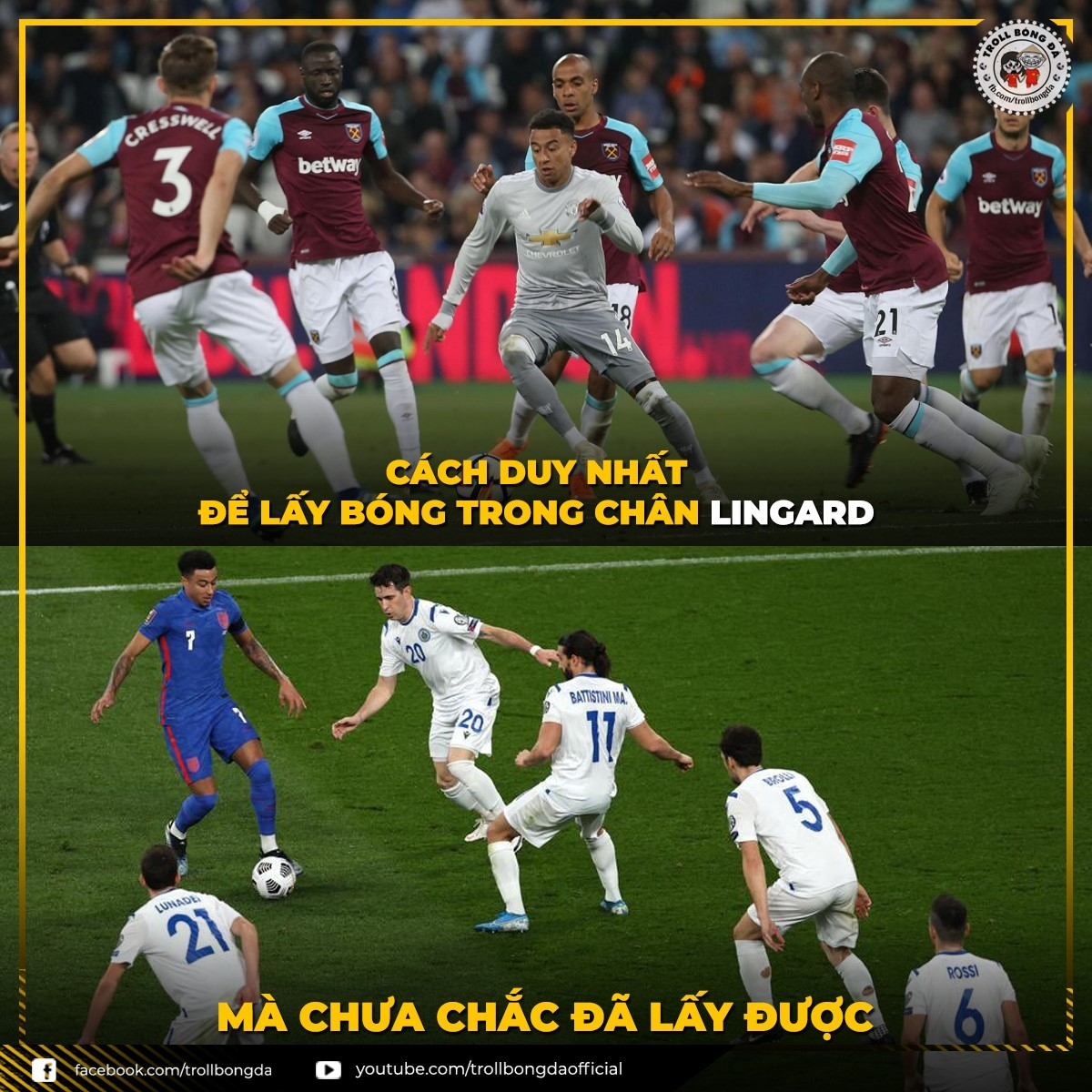 Lingard biến thành Messi trong màu áo ĐT Anh (Ảnh: Troll bóng đá).