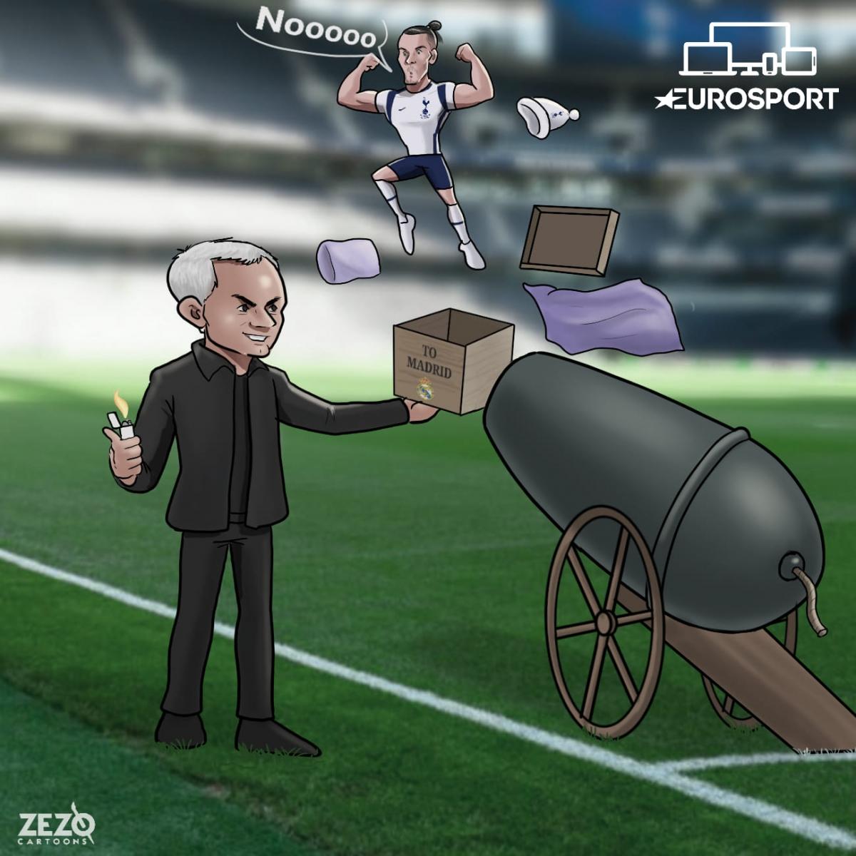 "Gareth Bale đang ""hồi sinh"" tại Tottenham. (Ảnh: Zezo Cartoons)."