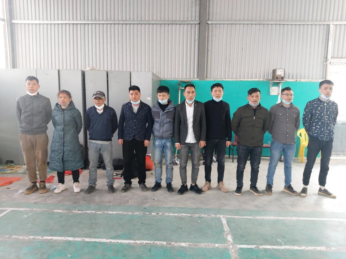 10 công dân Trung Quốc nhập cảnh trái phép bị phát hiện, bắt giữ (Ảnh Công an Cao Bằng)