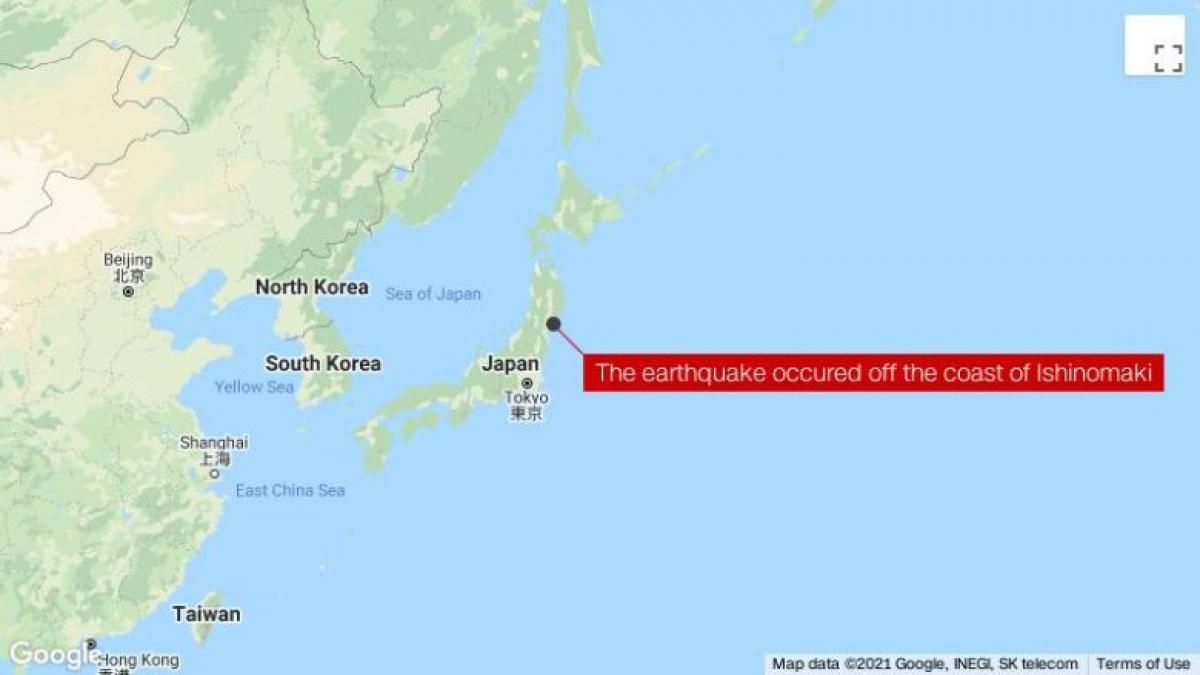 Động đất xảy ra ở ngoài khơi Ishinomaki. Ảnh: CNN