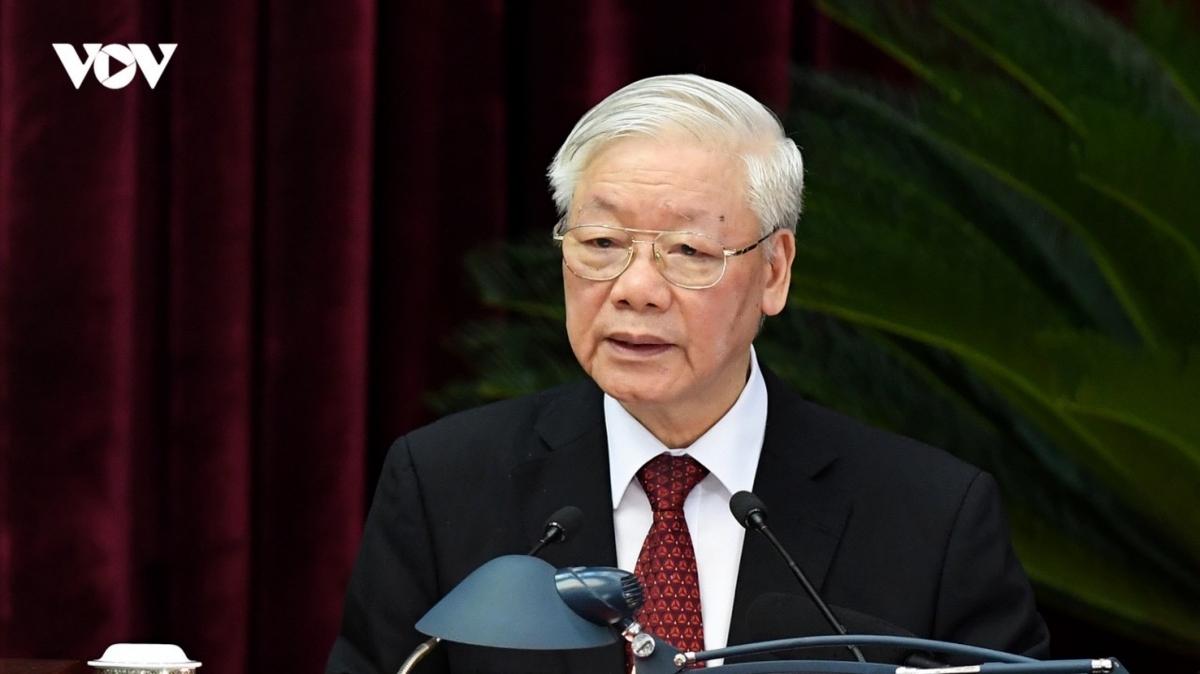 Tổng Bí thư, Chủ tịch nước Nguyễn Phú Trọng phát biểu tại phiên bế mạc hội nghị. Ảnh: Ngọc Thành