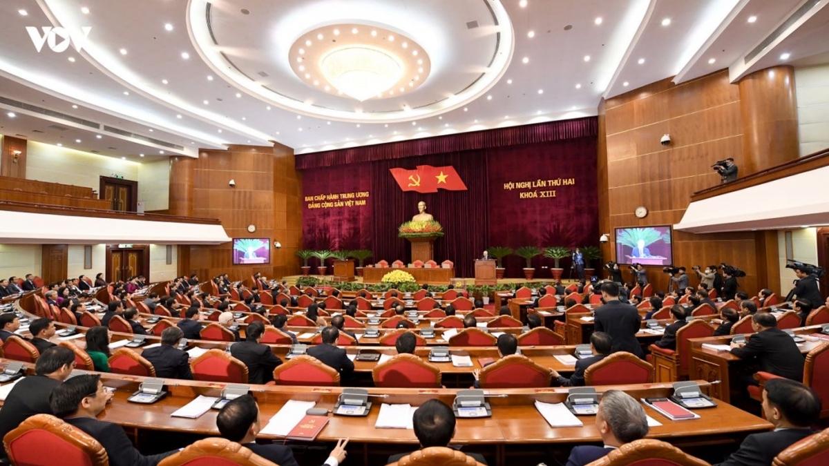 Bế mạc Hội nghị lần thứ 2 Ban Chấp hành Trung ương khóa XIII. Ảnh: Ngọc Thành