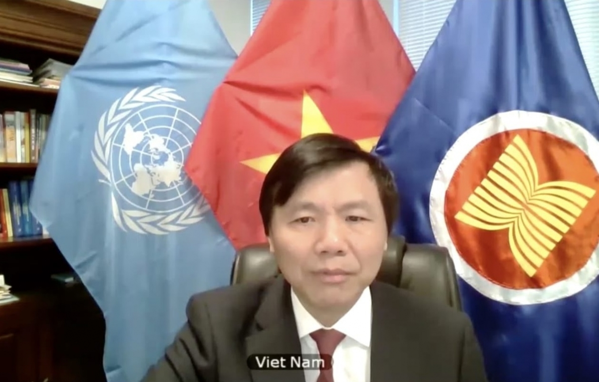 Vietnamese Ambassador Dang Dinh Quy, Permanent Representative of Vietnam to the UN attends UN Security Council's virtual conference on the United Nations Mission in South Sudan (UNMISS)