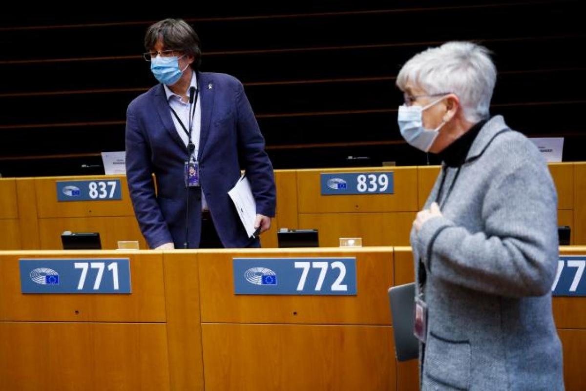 Ông Carles Puigdemont tại Nghị viện châu Âu hôm 8/3. Ảnh: El Mundo