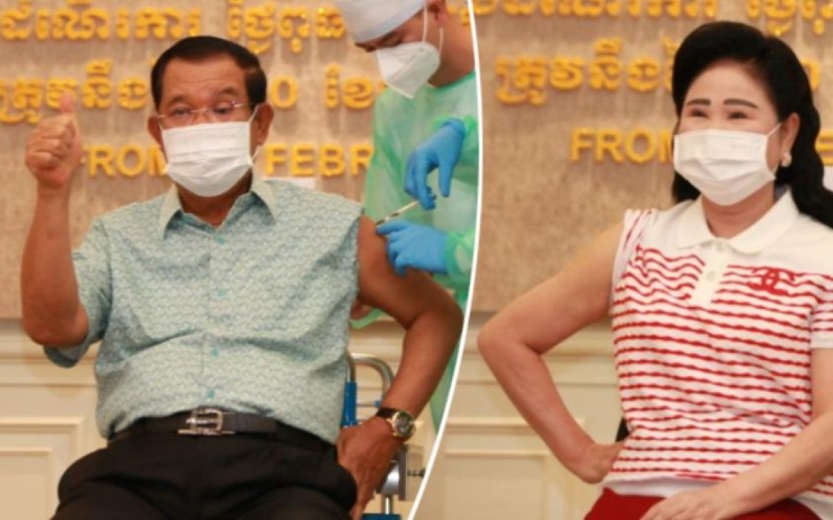 Vợ chồng Thủ tướng Campuchia Hun Sen tiêm vaccine ngừa Covid-19. Ảnh: Fresh News.