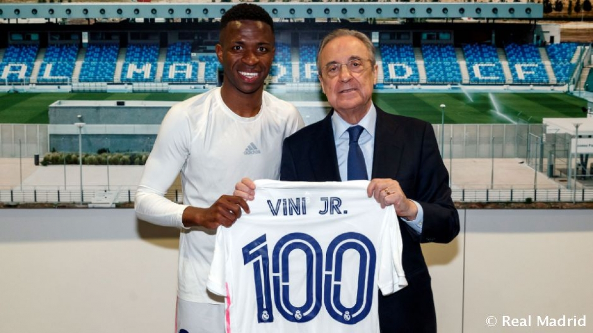 Vinicius đạt cột mốc 100 trận cho Real Madrid khi chưa tròn 21 tuổi. (Ảnh: Real Madrid).
