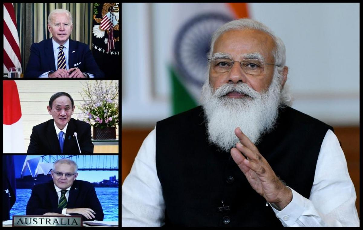 Lãnh đạo 4 quốc gia Quad dự cuộc họp thượng đỉnh trực tuyến ngày 12/3. Ảnh ANI.