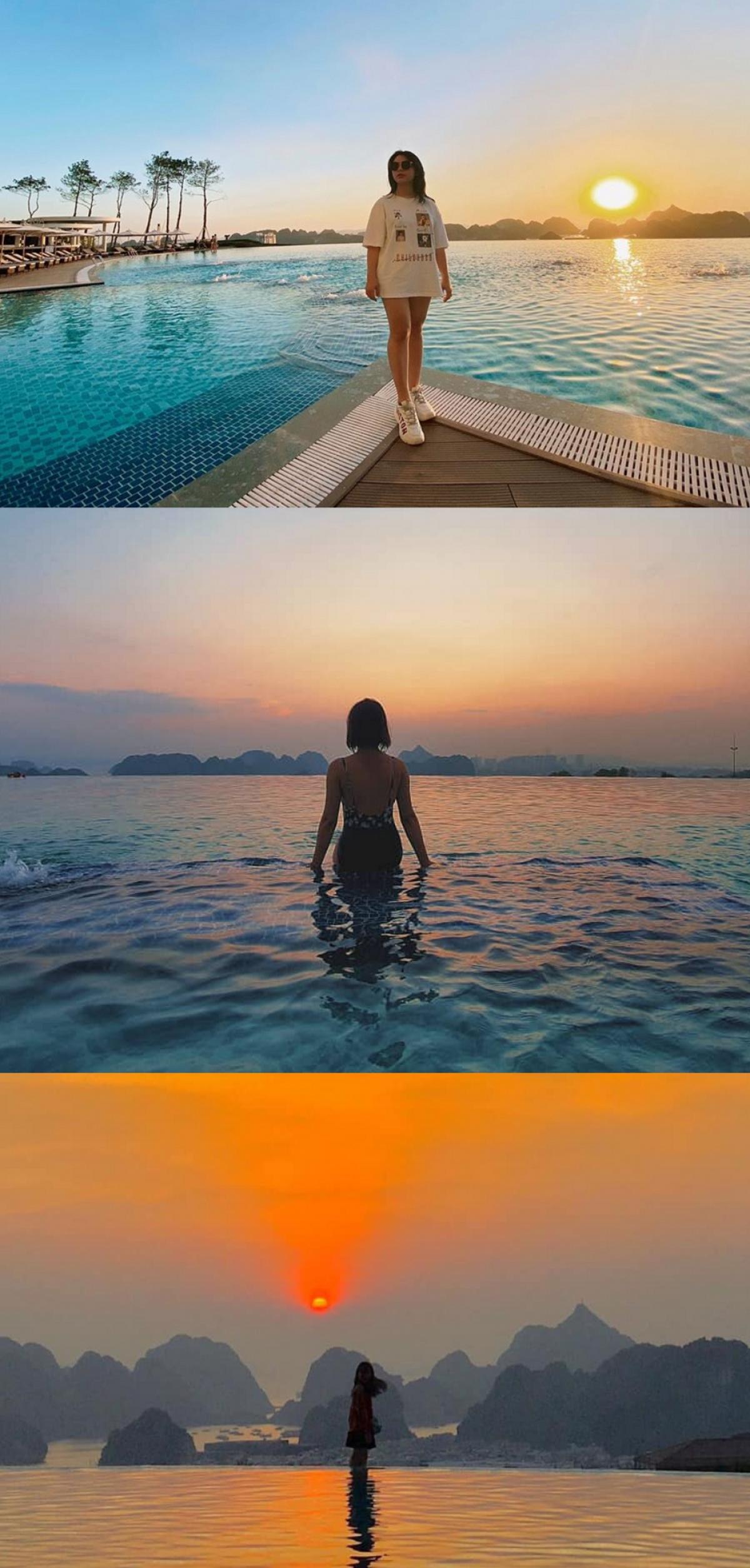 """Những bức hình check-in cùng hoàng hôn """"so deep"""" tại bể bơi vô cực của khách sạn FLC Hạ Long. (Ảnh: FLC Hạ Long)"""