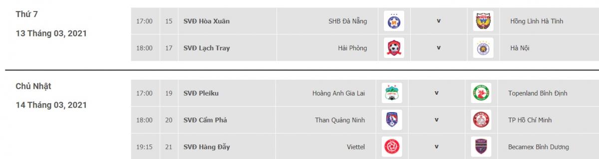 Lịch thi đấu các trận đá bù vòng 3 V-League 2021 vào cuối tuần này.