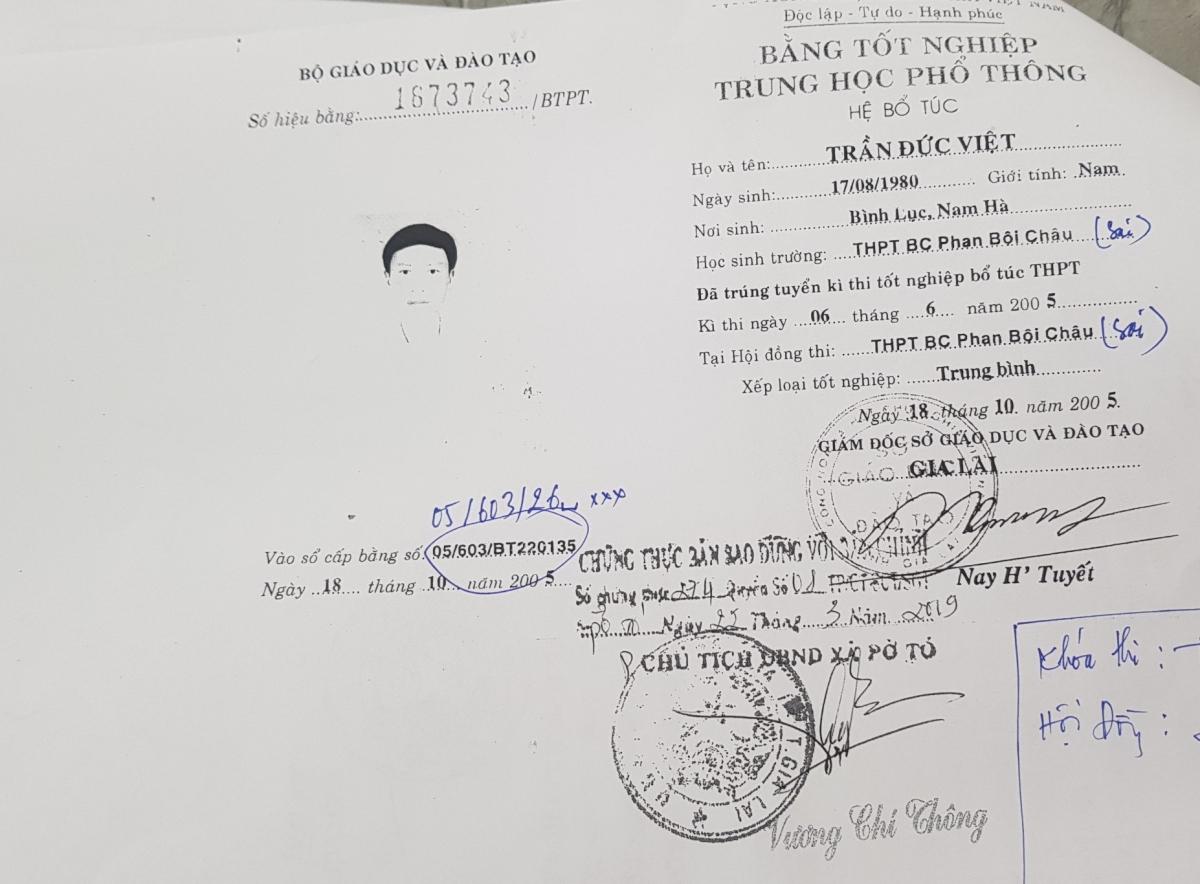 Bằng tốt nghiệp cấp 3 giả của ông Trần Đức Việt, Bí thư Đảng uỷ, Chủ tịch UBND xã Pờ Tó, huyện Ia Pa, tỉnh Gia Lai.
