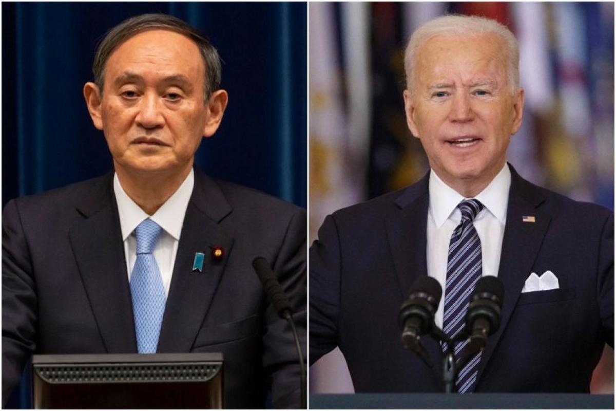 Thủ tướng Nhật Bản Suga và Tổng thống Mỹ Biden. Ảnh: EPA