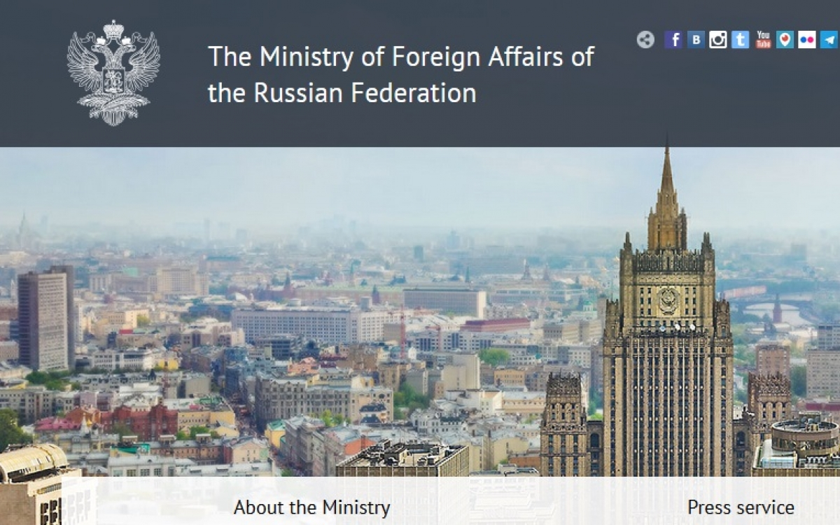 Một phần trang chủ website Bộ Ngoại giao Nga.