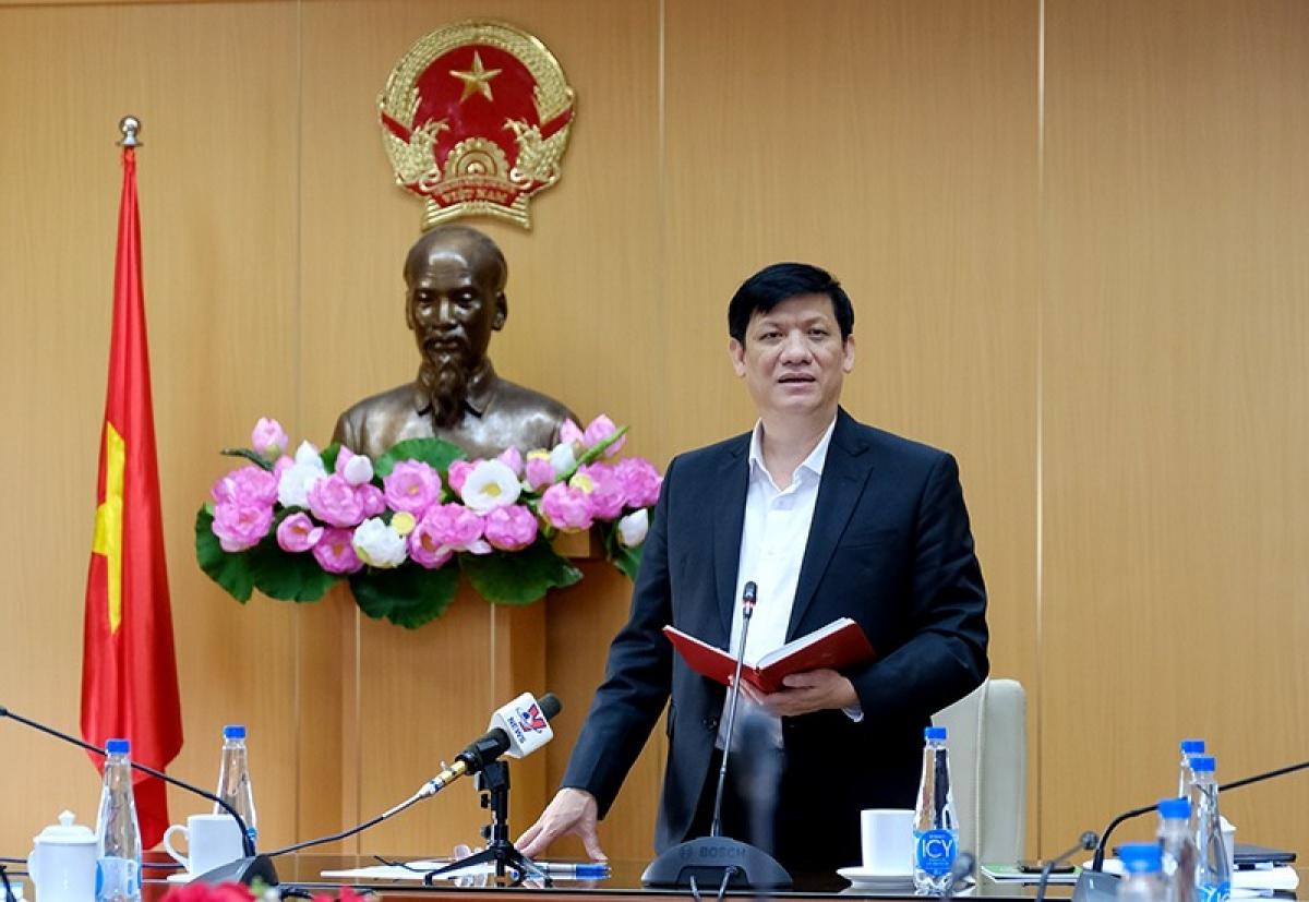 Bộ trưởng Nguyễn Thanh Long nêu rõ, phản ứng không mong muốn sau tiêm vaccine AstraZeneca tại Việt Nam đều nằm trong khuyến cáo của nhà sản xuất và của Tổ chức Y tế thế giới. (Ảnh: Trần Minh)