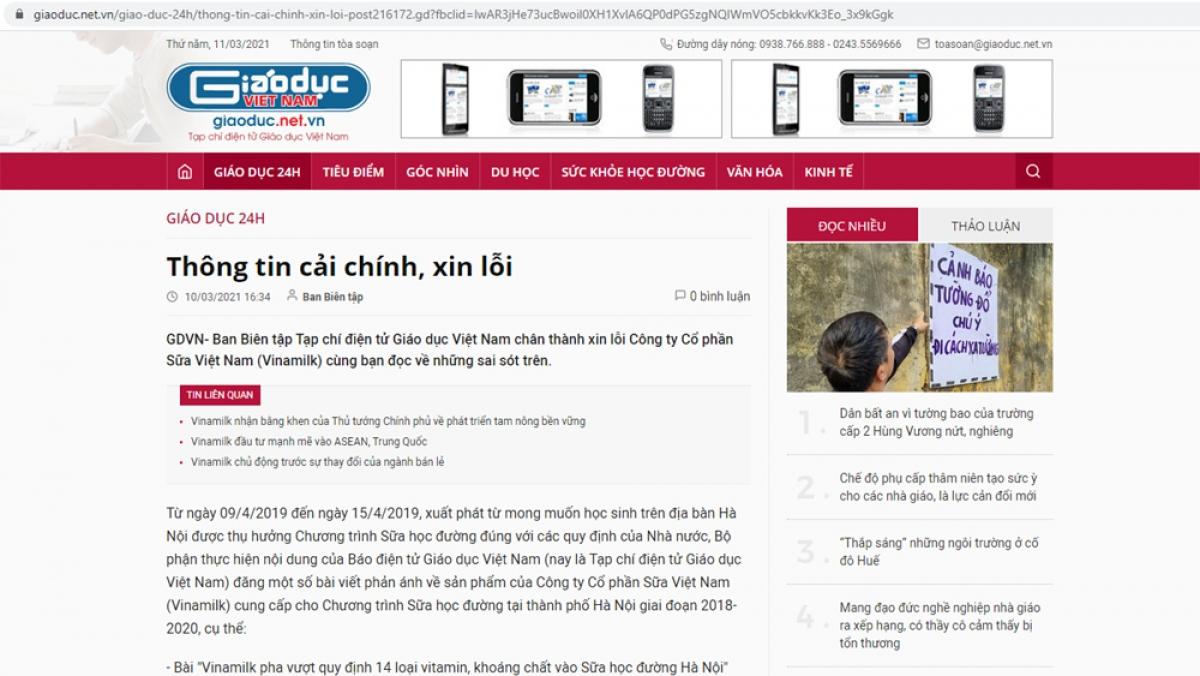 Tạp chí điện tử Giáo dục Việt Nam đăng thông tin xin lỗi, cải chính thông tin sai sự thật về Vinamilk.