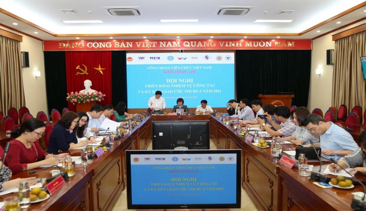 Toàn cảnh hội nghịKhối Thi đua III - Công đoàn Viên chức Việt Nam tổ chức Hội nghị triển khai nhiệm vụ công tác và ký kết giao ước thi đua năm 2021.