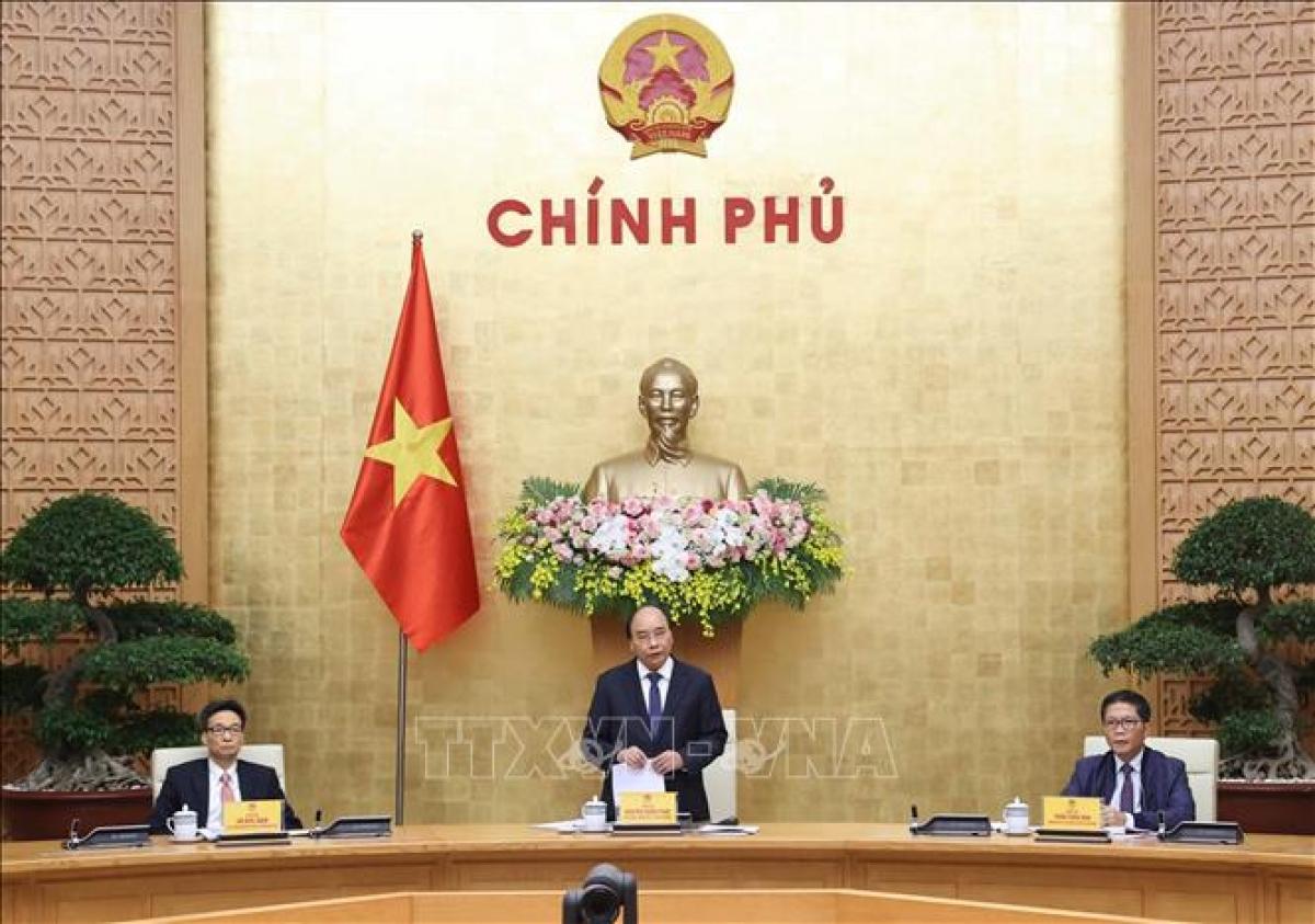 Thủ tướng Nguyễn Xuân Phúc, Chủ tịch Ủy ban quốc gia về Chính phủ điện tử phát biểu tại cuộc họp. Ảnh: Thống Nhất/TTXVN