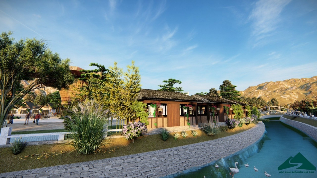 Các gian hàng bán đồ ăn nhanh, đặc sản v.v được bố trí bên bờ suối dọc phố đi bộ. Nguồn: mocchautourism.com