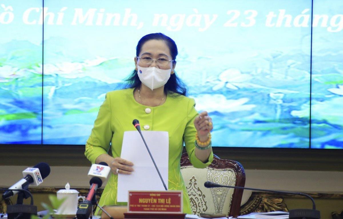 Chủ tịch HĐND TP Nguyễn Thị Lệ phát biểu tại một cuộc họp triển khai công tác bầu cử. Ảnh: Phương Thùy (PLO)