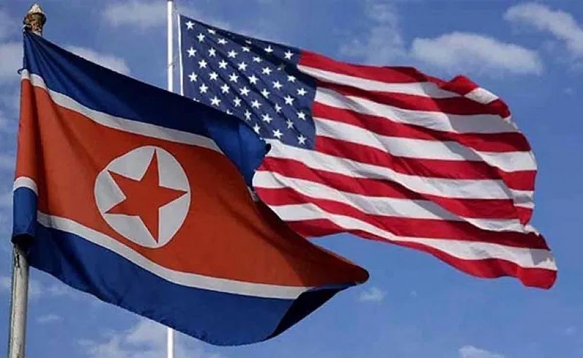 Cờ Triều Tiên và Mỹ. Ảnh: Eurasia Review.