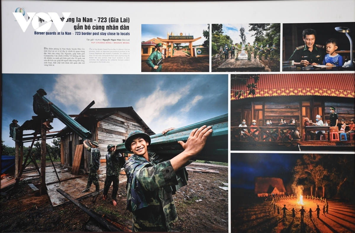 Some of the photos depict border guards as they assist local people in the Central Highland province of Gia Lai.