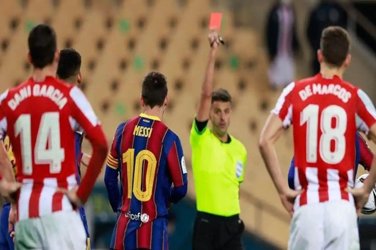 Trong lần gần nhất gặp Bilbao, Barca đã thất bại 2-3 và Messi nhận thẻ đỏ. (Ảnh: Getty).