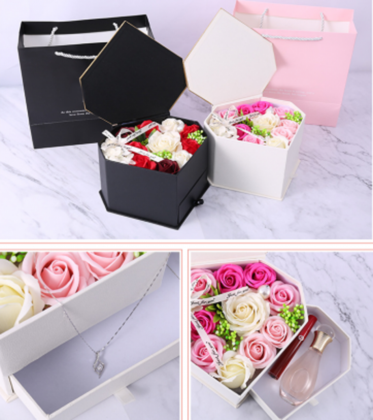 A box containing sweet smelling perfume, lipstick, and a necklace is a reliable option from the list of gifts for the special day.