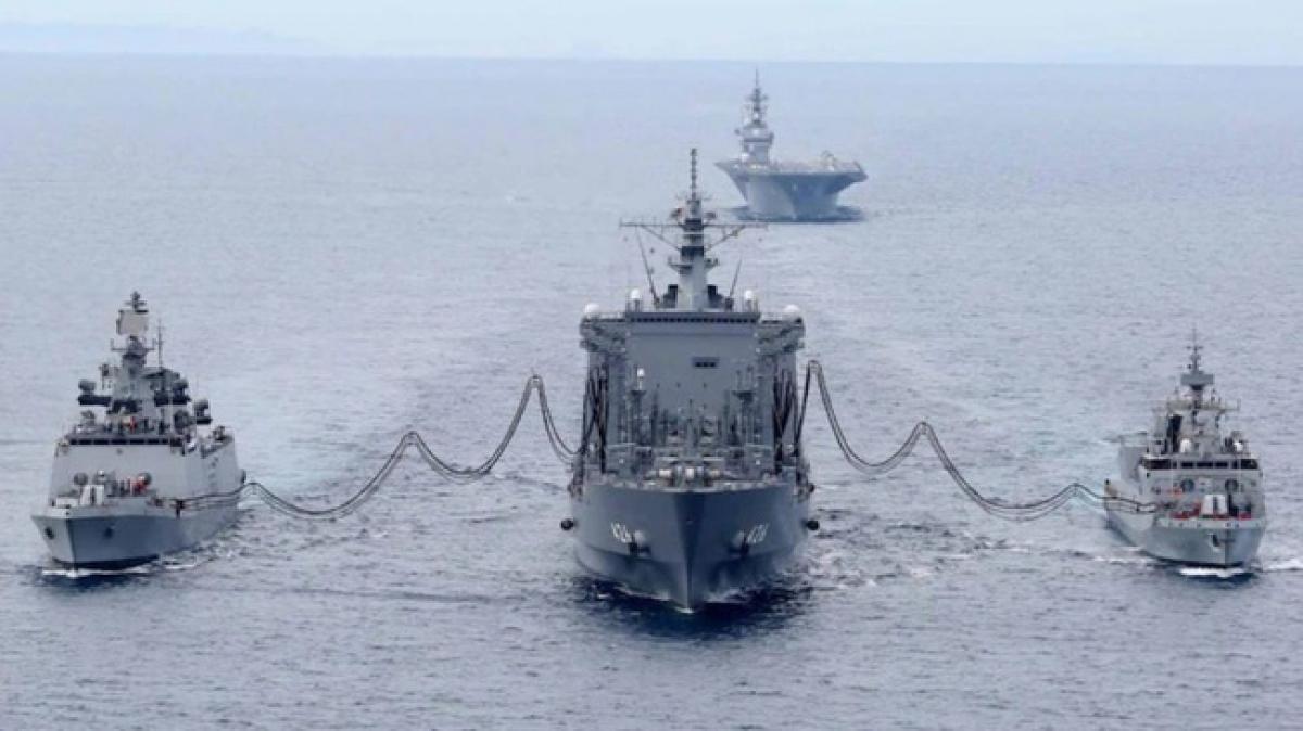 Nhóm Bộ Tứ tập trận hải quân Malabar ở vịnh Bengal năm 2020. Nguồn: Twitter