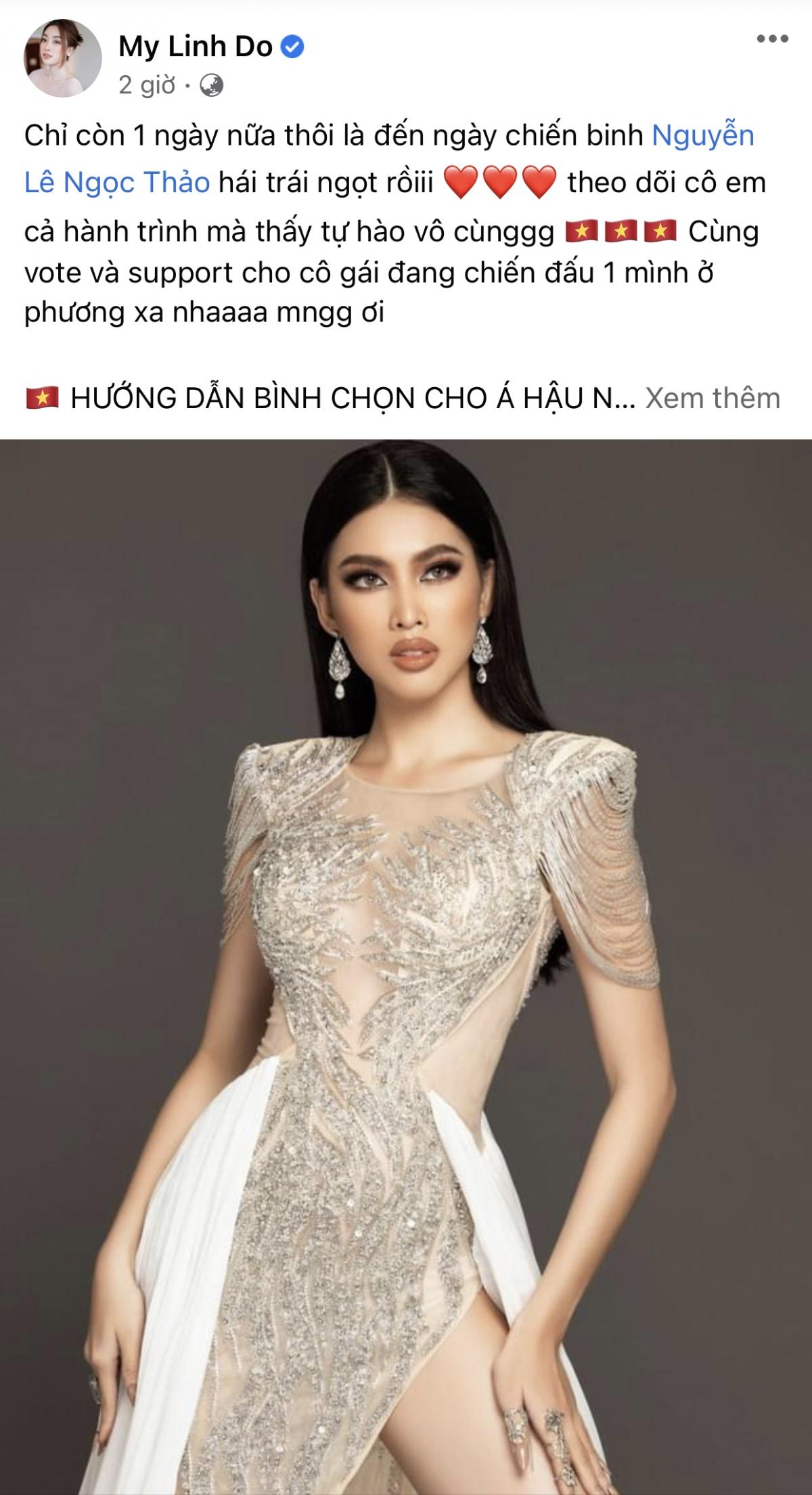 Hoa hậu Đỗ Mỹ Linh kêu gọibình chọn cho Á hậu Ngọc Thảo.