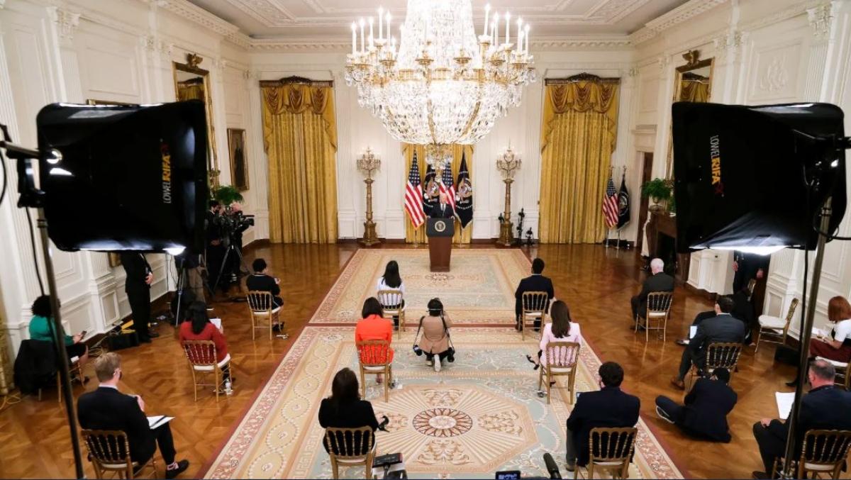 Cuộc họp báo chính thức đầu tiên của Tổng thống Biden ngày 25/3. Ảnh: Getty