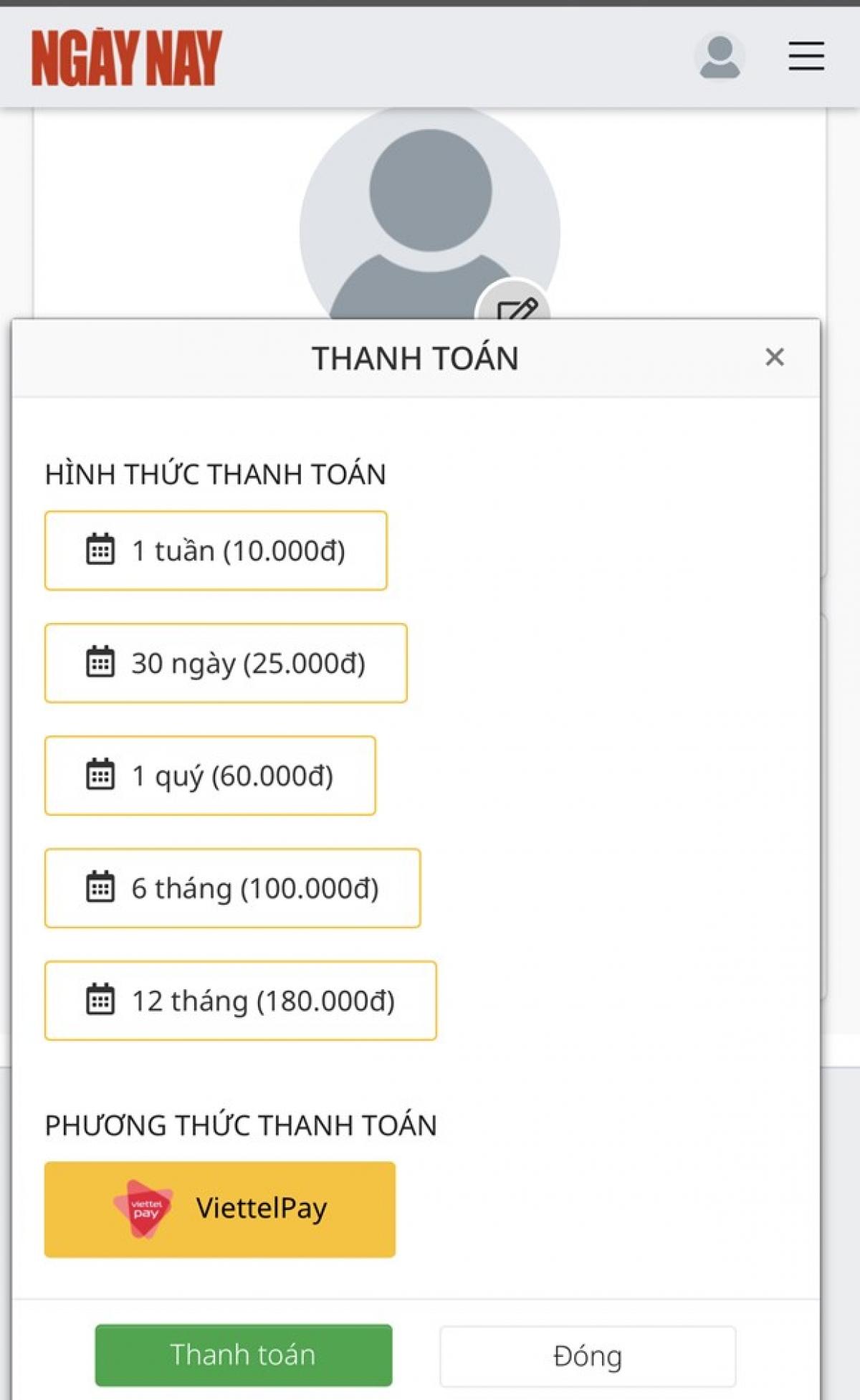 Các hình thức thanh toán và mức giá của Tạp chí điện tử Ngày Nay. (Ảnh chụp màn hình)