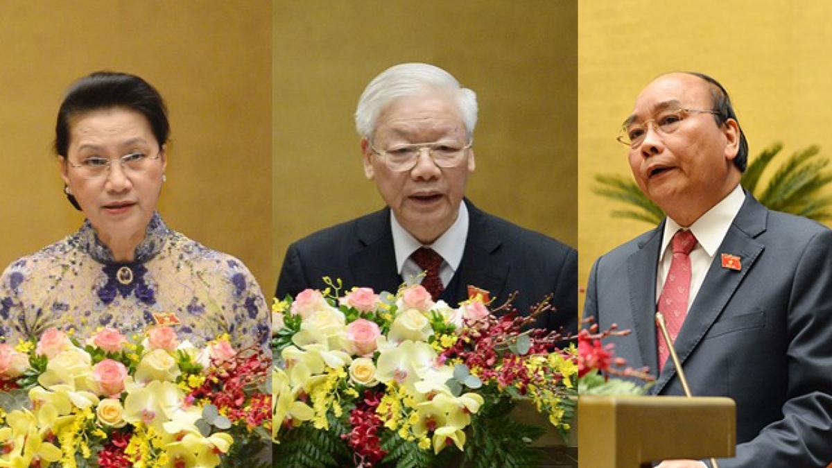 Chủ tịch nước Nguyễn Phú Trọng, Thủ tướng Nguyễn Xuân Phúc và Chủ tịch Quốc hội Nguyễn Thị Kim Ngân đã để lại nhiều dấu ấn trong nhiệm kỳ vừa qua
