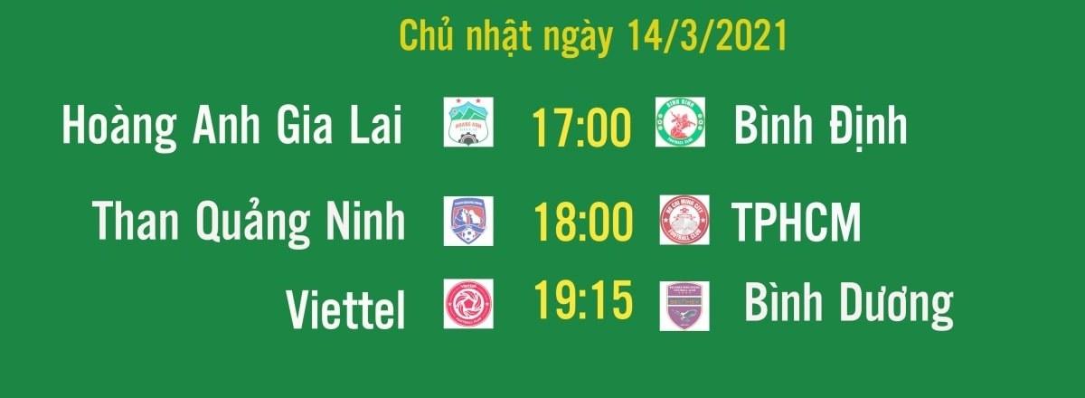 Lịch thi đấu các trận đá bù vòng 3 V-League 2021 diễn ra chiều, tối ngày 14/3.