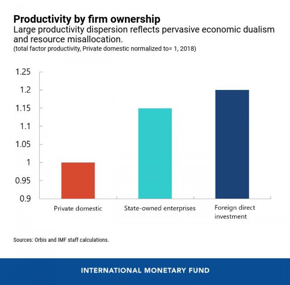 Năng suất lao động tại các khu vực kinh tế: Tư nhân, nhà nước và nước ngoài (Nguồn: IMF)