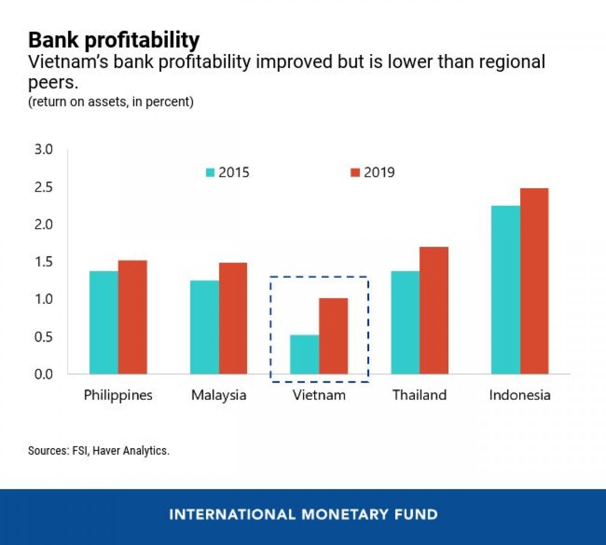 Lợi nhuận của ngành ngân hàng tăng trưởng tốt song vẫn thấp hơn các nước trong khu vực. (Nguồn: IMF)