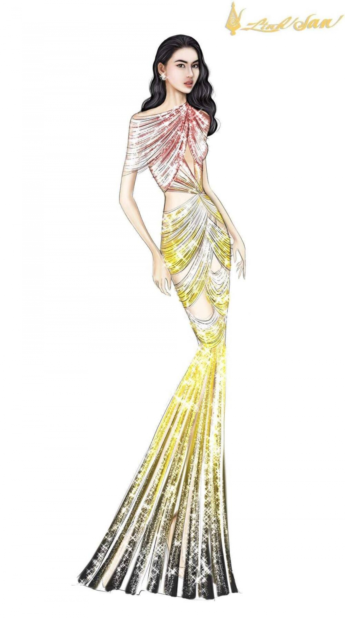 She anticipates that the yellow design will help her achieve her goals in the pageant, similar to other Vietnamese contestants in the past, such as Phuong Nga and Kieu Loan, both of whom claimed Top 10 finishes in the 2018 and 2019 version, respectively.