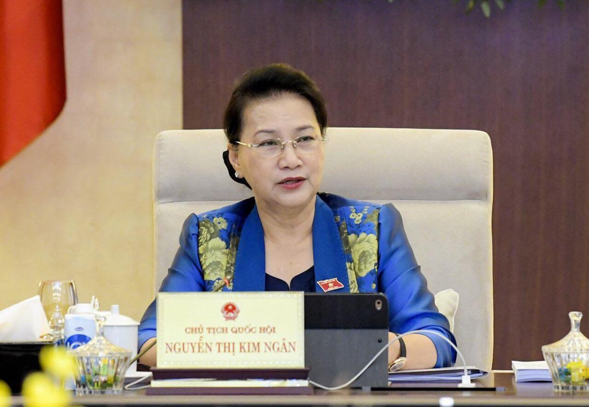 Chủ tịch Quốc hội Nguyễn Thị Kim Ngân điều hành phiên thảo luận. Ảnh: Quốc hội