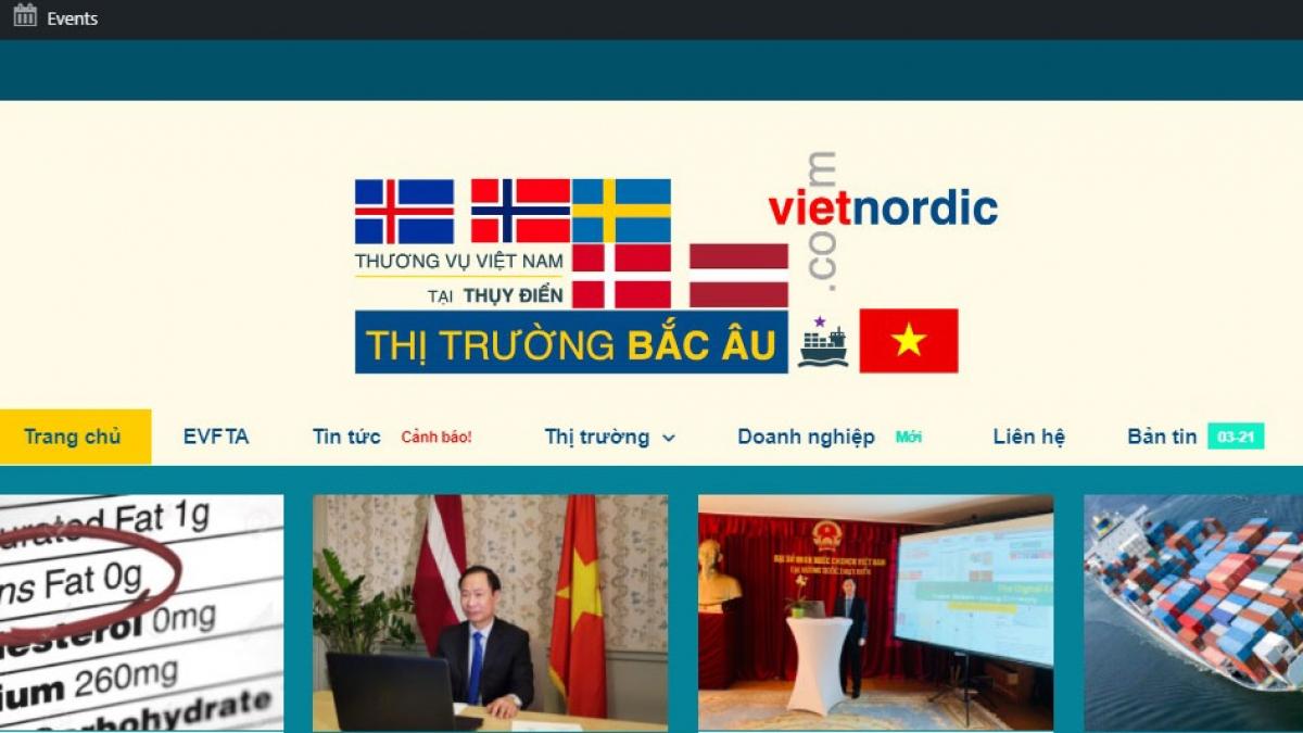 Website của Thương vụ Việt Nam tại Thụy Điển (https://vietnordic.com/)tăng cường việc cung cấp thông tin cho các doanh nghiệp khu vực Bắc Âu về môi trường kinh doanh, đầu tư của Việt Nam.