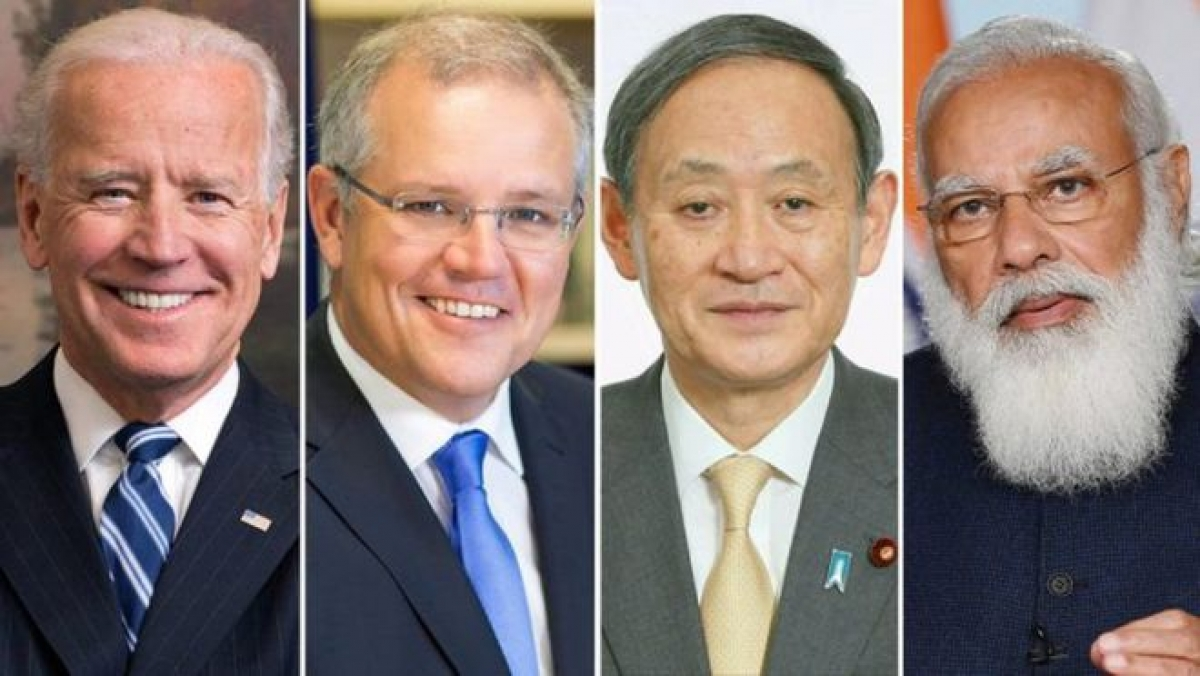 Từ trái sang: Tổng thống Mỹ Joe Biden, Thủ tướng Australia Scott Morrison, Thủ tướng Nhật Bản Yoshihide Suga và Thủ tướng Ấn Độ Narendra Modi. Ảnh: The Print.