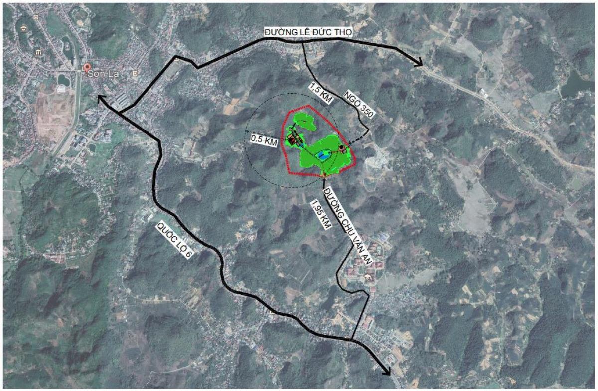 Vị trí khu vực quy hoạch nghĩa trang TP Sơn La - ảnh chụp vệ tinh.