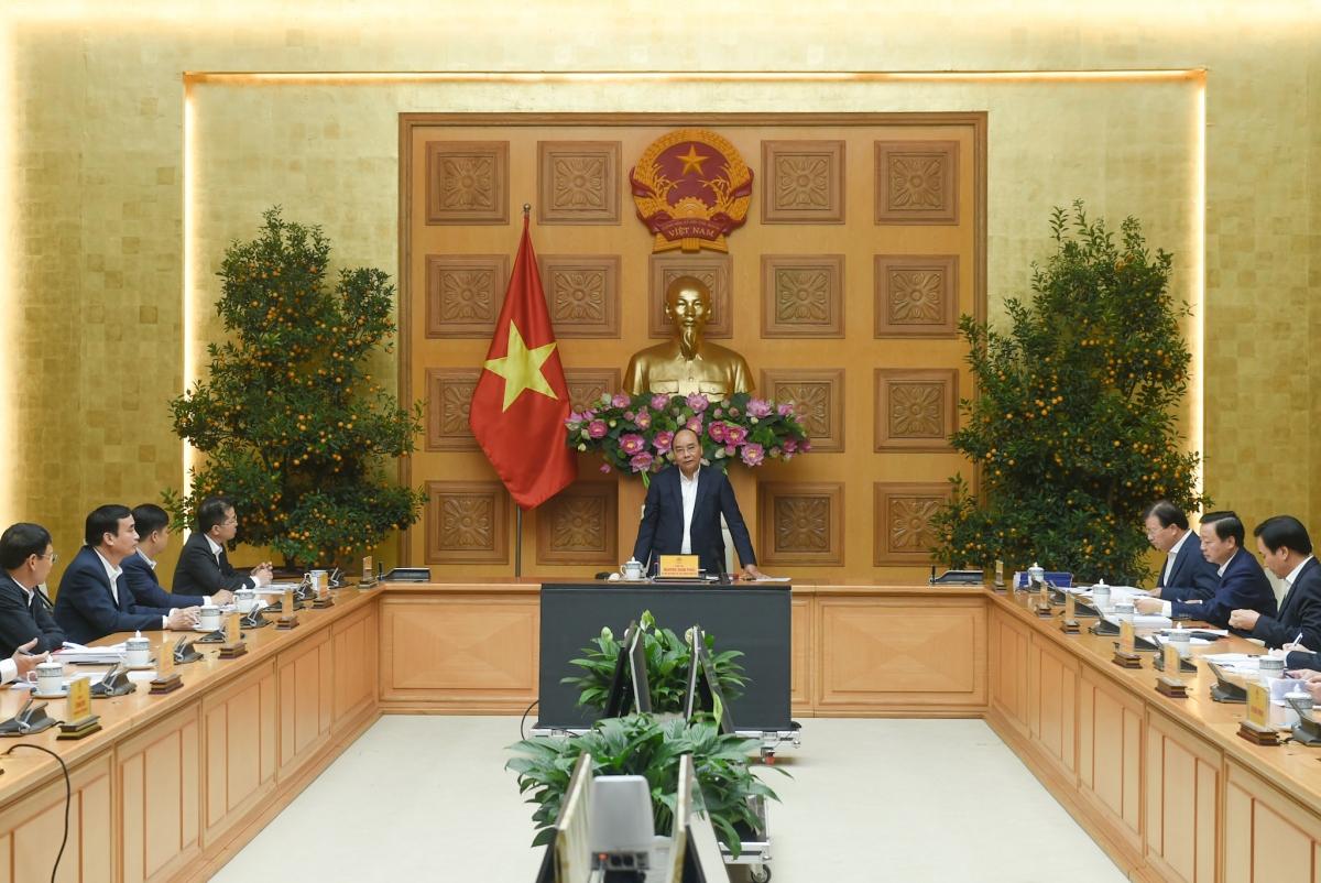 Thủ tướng Nguyễn Xuân Phúc phát biểu tại buổi làm việc - Ảnh: VGP