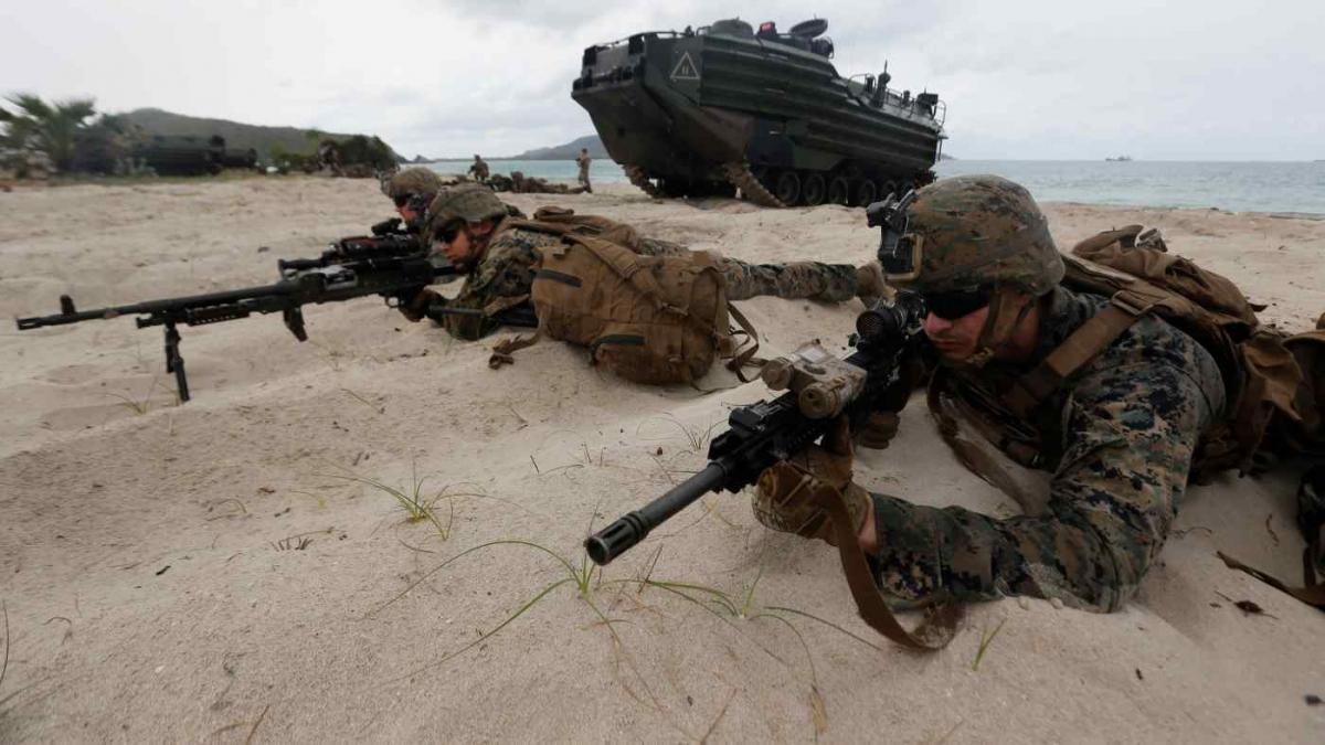 Lực lượng thủy quân lục chiến Mỹ tham gia diễn tập đổ bộ tấn công ở Chonburi, Thái Lan hồi tháng 2/2020. Ảnh: AP
