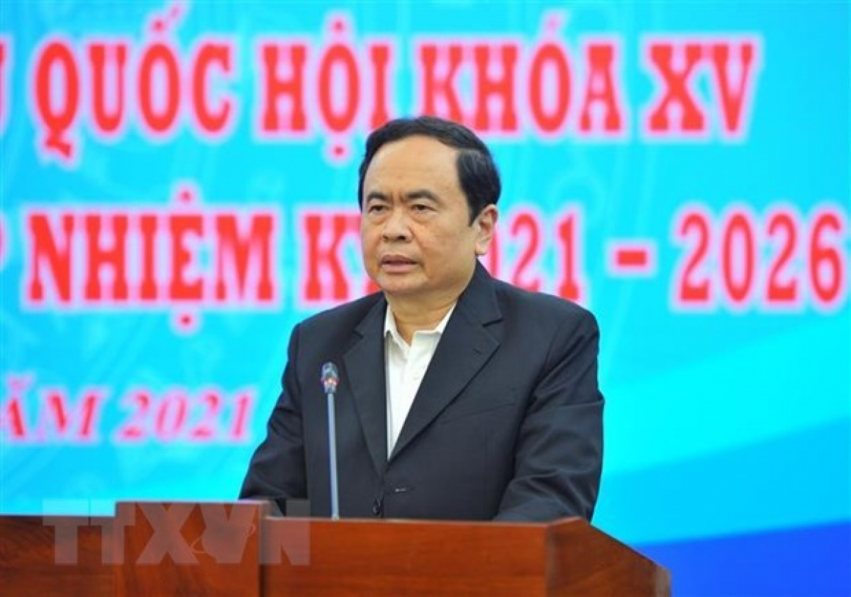 President of the Vietnam Fatherland Front (VFF) Central Committee Tran Thanh Man addresses the meeting (Photo: VNA)