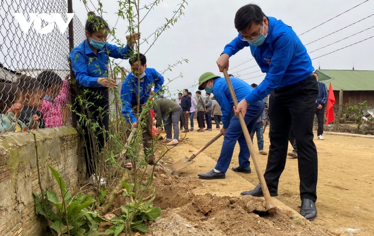 Participants plant 1,000 peach trees as part of efforts to beautify the mountainous area and help boost the local tourism industry.