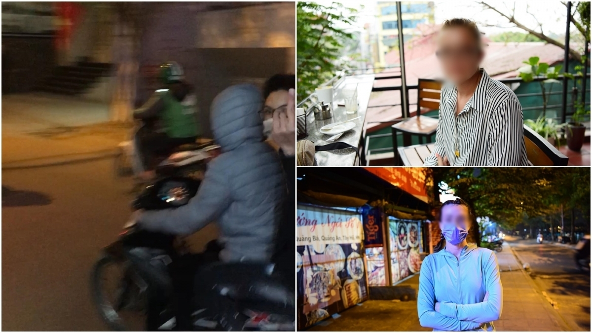 the police are identifying motorcycle drivers (left) who were accused of carrying out sexual assaults against foreign women in Hanoi's Tay Ho district.