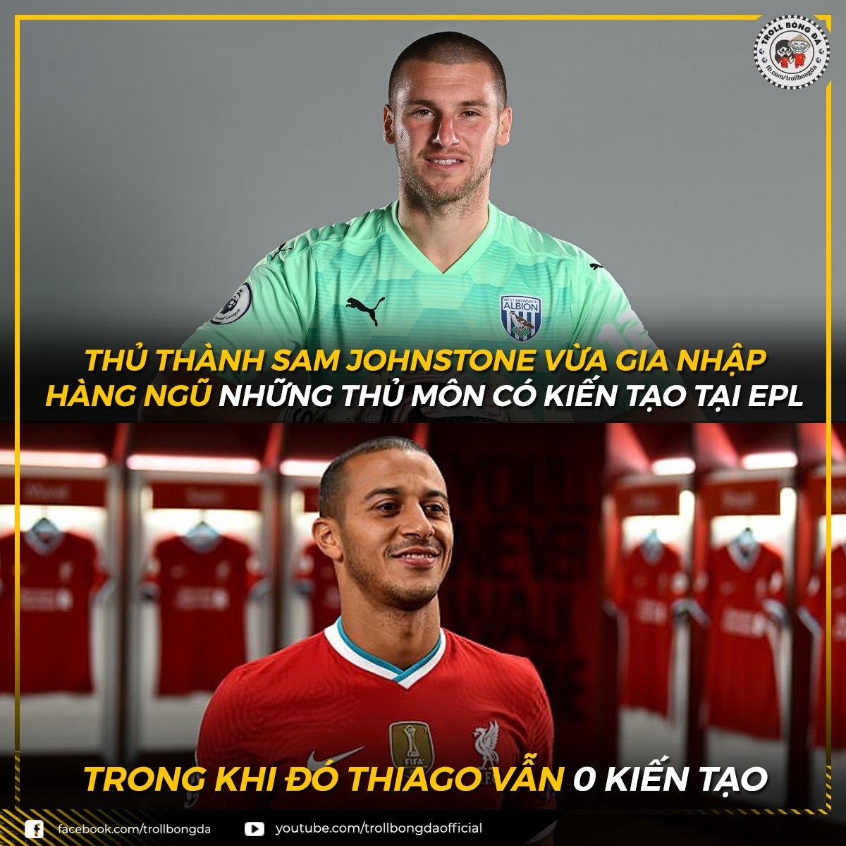 Thủ môn của đội bóng đang chống xuống hạng đã kiến tạo mà Thiago thì vẫn chưa. (Ảnh: Troll bóng đá).